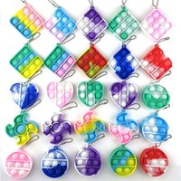Mini Push Pops Bubble Sensory Toy Keychain Autism Squishy Adult Stress Reliever Toy for Children Relief Funny Pop-it Fidget Toys DHL Ship
