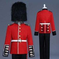 4 stücke Britisch Royal Guard Honor Guard Prinz William Europäischer Gerichtshof Performance Kostüm Bühnenanzüge Mantel + Hosen + Hut + Gürtel 2020 x0909