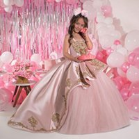 Pink Beaded Ball Gown Girls Pageant Dresses Spaghetti Straps Princess Flower Girl Dress Sequined Satin Appliqued First Communion Gowns