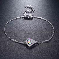 Belas pequenas braceletes de corrente pulseira de jóias fofas multi cor de cristal linda pulseira