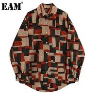 [EAM] Kadınlar Retro Geometrik Baskılı Büyük Boy Bluz Yaka Uzun Kollu Gevşek Fit Gömlek Moda İlkbahar Sonbahar 2021 1DD0199 Kadın Bluzlar S