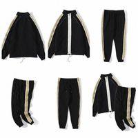 Tasarımcı Erkekler Naylon Eşofman Tişörtü Takım Elbise Spor Salonu Sportsuit Uzun Kollu Erkek Hoodies Fermuar Seti Güz Eşofman Jogging Ceketler + Pantolon Spor Giyim Hood E5vj #