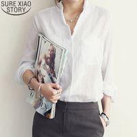 Baumwollwäsche Weiß Hemden Frauen Langarm Blusen Tops Mode Frühling Sommer Koreanische Büro Dame Kleidung Blusas 3511 210512
