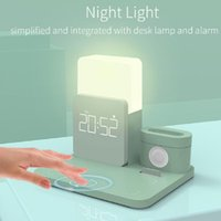 3 In 1 Alarm Clock with Wireless Charging Dock Stand Multifunction Night Light USB Fast Charger Fast Charging Stands Dropship