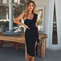 Seamyra Sexy Verband Kleid Frauen New Club Wear Rüschen Eine Schulter Ärmellose Midi Black Dresses Bodycon Celebrity Party Kleid