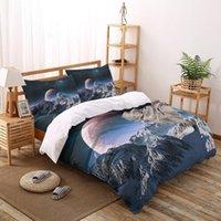 Rocky Mountains Planetas Starry Sky Patrón de cama Juego de ropa de cama Sol de lámina Twin Size Duvet Funda para la cama conjuntos de casas conjuntos