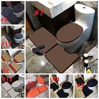 Tapetes do banheiro do vintage Tide Letras cheias Toaletes de flores Assento Capas Ins Moda Casa Casa de Casa de Banheiro Tapetes Tapetes Tapetes 3 Pcs Set