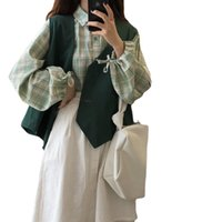 Two Piece Dress 3 female ensembles green harajuku plaid shirt without sleeves vest and asymmetric design come out spring teens chic daily ITXF