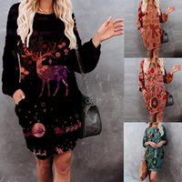 Casual Dresses Women's Christmas Dress Bag Hip Pocket Print Round Neck Autumn Outfits Women Knitted Sweater Jersey Navidad#35