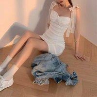 Casual Dresses Elegant Women's Party Korean Style Bandage Solid Vintage Mini Dress Females Design Bodycon 2021 Summer Sexy