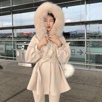Women's Wool & Blends Removable Woolen Hooded Long Coat For Women Solid Slim Belt Lanter Sleeve A-Line Sweet Thick Warm Female Outer Wear Wi