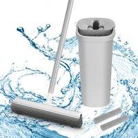 BOOMJOY Hands Free Squeeze Sponge with Bucket 2 Reusable Mop Pads for Home Kitchen Hardwood Floor Cleaning