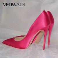 Veowalk Rose Pink Women Satin Stilettos High Heels Slip On Pointy Toe Silk Pumps Elegant Ladies Wedding Bridal Dress Shoes 210610