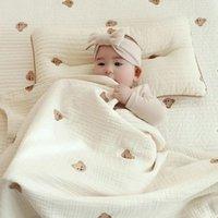 Blankets & Swaddling Muslin Swaddle Wrap Born Bedding Baby Blanket Cotton Cartoon Bear Print Boys Girls Kids Sleeping Towel Stroller Cover