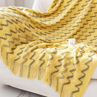 Blankets Two-color Sofa Blanket, Bed End Knitted Cross-border Air Conditioning Tassel Siesta Blanket