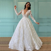 Charming Full Lace Wedding Gowns Deep V Neck A Line Long Sleeves Garden Country Bridal Party Dresses Sweep Train Plus Size robe de mariée