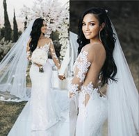 Mermaid Wedding Dresses 2021 with Long Illusion Sleeve Dubai Arabic Sexy Sheer Back Bridal Gowns Lace Appliqued Tulle Court Train