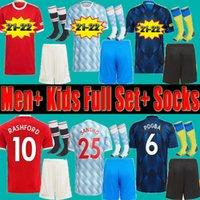 Manchester united Men Adult Kids Soccer Jerseys Full Set Uniform Shorts Socks 21 22 Man RONALDO  UTD SANCHO FERNANDES  POGBA Varane 2021 2022 Football Shirts SHAW kits