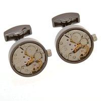 Tourbillon Movement 1 Pair Set For Mens Wedding Groom Watch Mechanism Gear Shirt Cuff Suit Sleeve Cufflinks Relojes