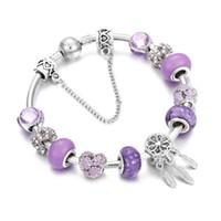 Vintage Luxury Crystal Beads Charm Bracelets&Bangles Mask Leaves Pendant Silver Plated Bracelet Girl Fashion Jewelry AccL2AE