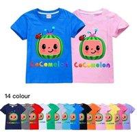 COCOMELON JJ BEBY BOCHS Camiseta de dibujos animados letras lindas impresas Niños de verano Manga corta Candy Colors Colors Top Tops Ropa GG49wgrn