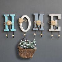 "Hangers & Racks ""LOVE"" ""HOME"" Letter Postral Style Wonderful Lace Flower Design Wooden Hook Metal Hanger Decorative Wall Home Decor"