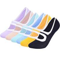 Спортивные носки 6 Цвет Большой Размер Женщины Yoga Силиконовые Нескользящие Пилатес Дышащий Фитнес Балетки Тапочки Хлопковые тапочки