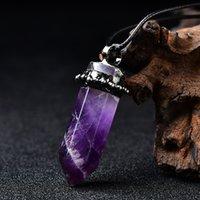 Natural Amatista Colgante DIY Moda Curación Péndulo Collar de cristal Regalo