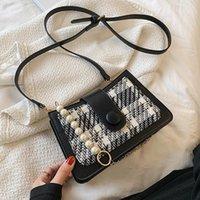 Shoulder Bags Pearl Hand Strap Checkered Stripe Design 2021 Travel Classic Handbag Fashion Simple Messenger Bag Ladies