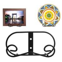 Hooks & Rails Black Metal Wall Mount Display Easel Horizontal Rack Plate Hanger Vertical Stand Holders Picture Frame For