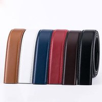 Belts 3.5cm Men Belt No Buckle Cowskin Cow Genuine Leather Body Without Automatic Strap Blue Red Coffee Brown White Black