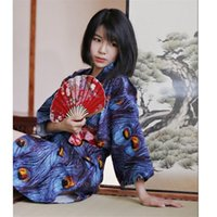 Japonés estilo kimono vestido antiguo pavo real yukata estampado floral kawaii chicas bata japón mujeres haori vintage fiesta anime cosplay paño étnico