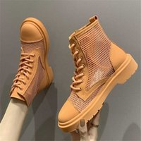 Boots Woman Summer Breathable Hollow Out Mesh Ankle Fashion Campus Style Girl Orange Round Toe Platform