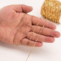 Semitree 2 Medidor de Aço Inoxidável Cors Cadeia de Ouro Clip Clip Tube Tube Bulk Chains DIY Jóias Colar Fazer Acessórios Handmade 1474 V2