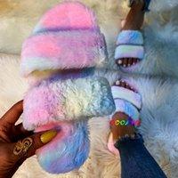 Coolsa Furry House Chaussures moelleuses Chaussons moelleuses Femmes Faux Fourrure Diapositives Plat Soft Fuzzy Home Peluche Flip Flip Tongs Hiver chaud