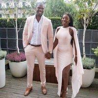 Anzüge Mode Licht Rosa Hochzeit Bräutigam Kleid 2 Stück Jacke Hosen Terno Masculino Herren Blazer Kostüm Homme Mariage