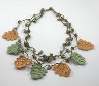 Hojas de crochet de Oya Turco con piedras naturales Collar Auténtico Auténtico Hecho A Mano Hecha Punto Boho Joyería