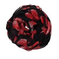 Écharpes 2021 Fille Femme Femmes Foulard Rouge Poppy Imprimer Long Fleur Beach Wrap Mesdames Sole Châle Haute Qualité