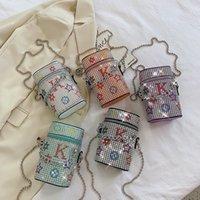 5 färger Shining Paillette Square Bucket Cosmetic Fodral Designer Purse Vacker dam Unika lyxiga modeväskor