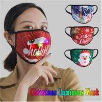 Cartoon drucken weihnachten leuchtende maske 7 farben änderung leuchtung led fass für maskerade rave masks party masks dekoration baumwolle