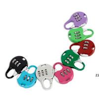 Mini Cadeado 3 Dial Digit Senha Combinação Fechaduras Bagagem Código de Metal Lock Travel Gym Locker Patry Favor 8 cores Atacado HWD7369