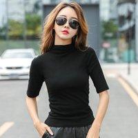 Women's T-Shirt 2021 Brand Womens Half High Collar Mid-sleeved T Shirt For Female Woman Clothing Thin Tops T-shirts