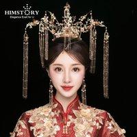 Hair Clips & Barrettes HIMSTORY Luxury Chinese Jewelry Bridal Headwear Phoenix Coronet Ancient Golden House Long Tassel Wedding Accessories