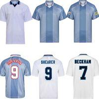Retro 1998 90 96 97 98 Beckham Owen Home Away Jersey Gascoigne Shearer Southgate Clássico Vintage 1990 1996 Antigo Camisa de Futebol Calssical