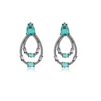 Valentine's Day Waterdrop Large Chandelier Earrings for Women European Vintage Prom Jewelry Full Pave Color Zirconium (2pair lot)