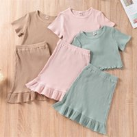 Clothing Sets 2-7 Years Old Toddlers Baby Girls Outfits Fashion Solid Color Short Sleeve T-shirt + Ruffles Skirts Infant Summer