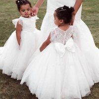 Girl's Dresses White Ivory Puffy Flower Girl Dress For Wedding Formal Lace 3D Floral Appliqued Pageant Party Gowns Princess Skirt Kids Cloth