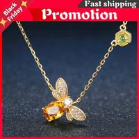 Chains Bee 925 Sterling Silver Necklace Natural Citrine Gemstone Necklaces 14k Real Gold Plated Chain Pendant Jewelry Lmni015