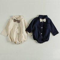 Sonbahar Uzun Kollu Bodysuit Bebek Erkek Giysileri Kravat Kız Tulumlar Çocuklar Bebek Kostüm 210413