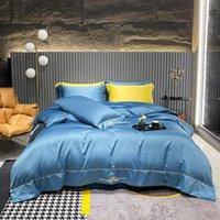 Bedding Sets 4Pcs ProduSatin Tencel Embroidery Luxury Bed Set Double Queen King Size Duvet Cover Sheet Pillowcase.